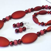 Handmade Beaded Jewelry Set in Dark Red