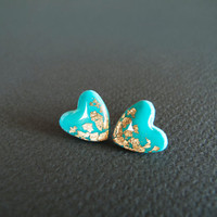 Tiffany Heart Stud Earrings - Polymer Clay and Resin Jewelry