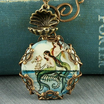 Mermaid Necklace Seahorse Necklace Mermaid Pendant Beach Necklace Oyster Brass Filigree Vintage Mermaid Seashell Altered Art