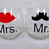 Mr. & Mrs. Stemless Wine Glass Set with Vaudeville Hipster Mustache and Red Lips