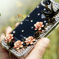 FREE SHIP 1PC Bling Crystal  Spring Bird Swallows &amp;  Floral Phone Case for iPhone 4