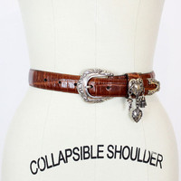 brighton croc leather belt w/ heart charms M