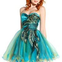 Metallic Peacock Embroidered Holiday Party Prom Dress Junior Plus Size:Amazon:Clothing