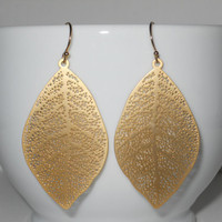 Delightful in Gold Earrings  Gold Dangle Leaves  by morganprather