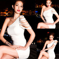 Hot White Womens Sexy Slim Clubwear Cocktail Party Mini Dress N271-c Size L