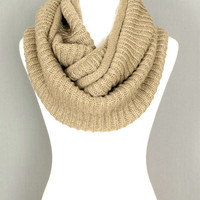 Beige Infinity Knitted Scarf
