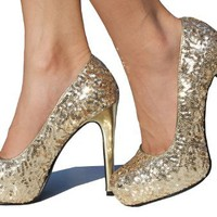 Gold Sequin Pump Platform High Heel Pump Size 7.5
