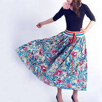 Blue floral Linen maxi skirt dress (0046)