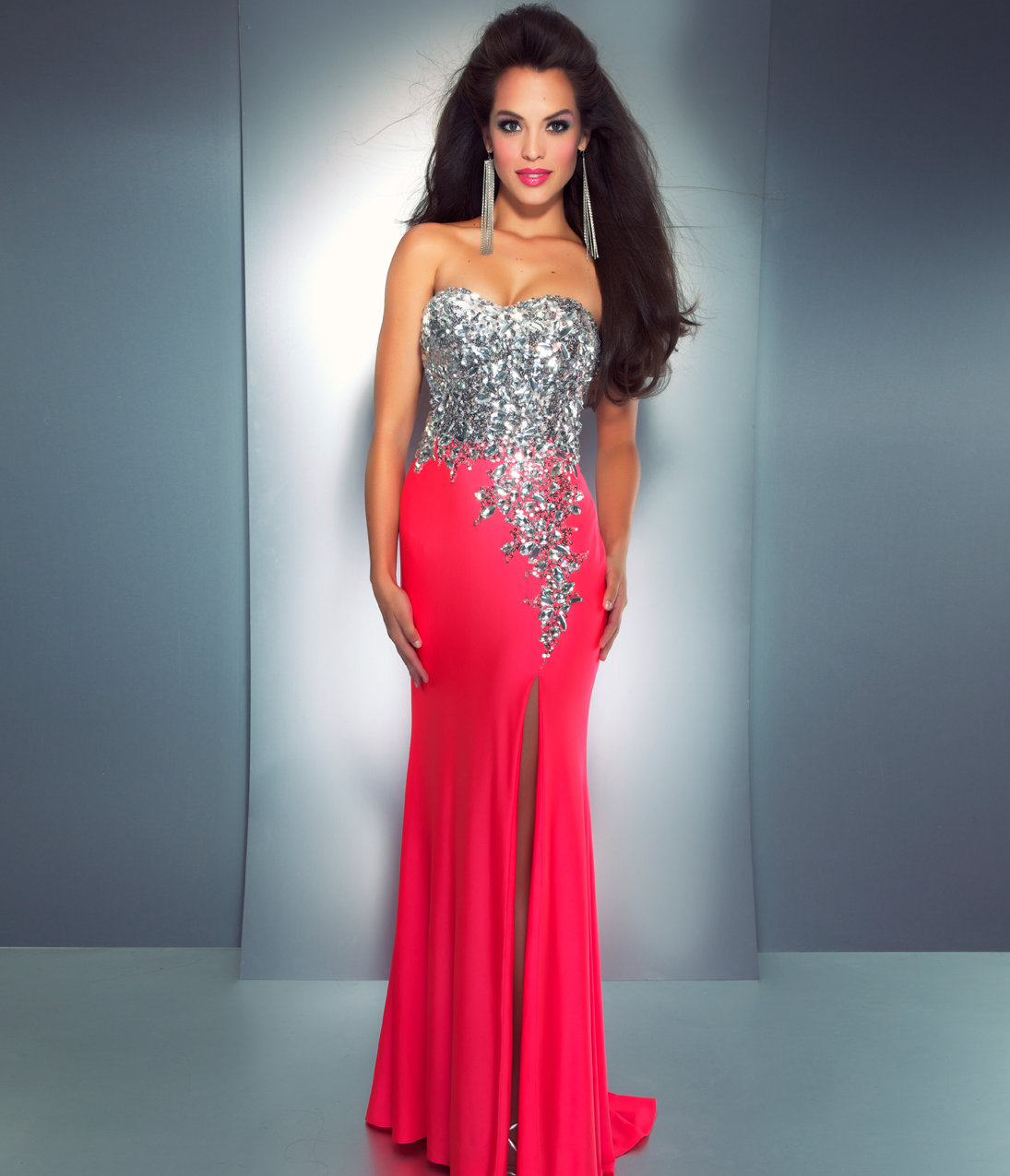 mac duggal prom 2013 strapless neon from unique vintage