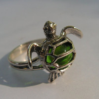 Sterling Silver Sea Turtle Ring With Peridot by westernmountain