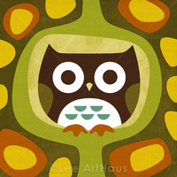 1R Retro Sitting Owl 6x6 Print on Luulla
