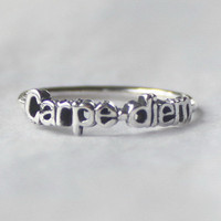 Carpe diem Ring 'Seize the day'  Sterling by HeartCoreDesign