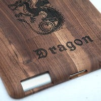 Retro Dragon Carved Handmade Wooden Case for Ipad