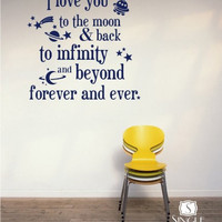 Wall Decals Text Moon and Back Kids Wall Quotes