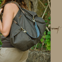 Julia, shopping bag in brown-black cotton wooven with leather details MADE TO ORDER