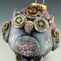 $39.00 Steampunk Vintage Style Owl Ornament/ Free by uncommoncreatures