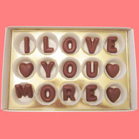 Valentines Day Gift for Men Him, I Love You More Large Milk Chocolate Letters, Made to Order