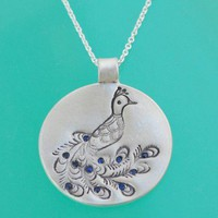 ShanaLogic.com - 100% Handmade  Independent Design! Silver Peacock With Sapphires Necklace  - Jewelry - Girls