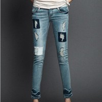 Faded Denim Pencil Pants with Ripped Panel and Distressed Detail