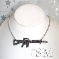 Love and War  gun necklace in black glitter laser by EssemDesign
