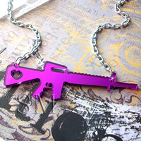 Love and War  gun necklace in purple mirror laser by EssemDesign