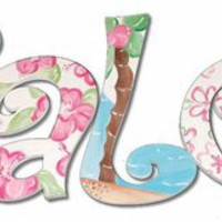 Halei Beach Hand Painted Wall Letters, Wall Letters,Personalized Art, Art for Girls