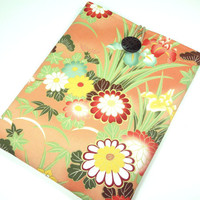 Japanese iPad case Kimono Cotton fabric Flowers chrysanthemum Orange