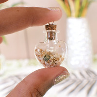 heart shaped sand filled bottle pendant