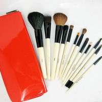 15 Pcs Cosmetic Brush Makeup Set + Case Natural goat hair 3 colors
