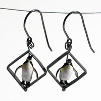 Penguins in Diamond Shape Earrings
