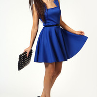 Emily Square Neck Belted Sleeveless Skater Dress