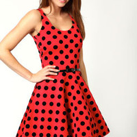 Candy Polka Dot Flocked Sleeveless Skater Dress