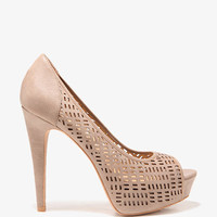 Perforated Peep Toe Pumps | FOREVER 21 - 2000049900
