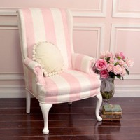 Darling Pink and White Striped Microsuede Armchair with Roses
