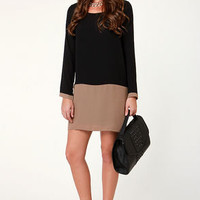 Mod-ly Enough Taupe and Black Shift Dress