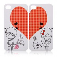 2 PCS Romantic Lovers Sweet Heart Hard Plastic Case for iPhone 4 4S (Red) China Wholesale - Sammydress.com