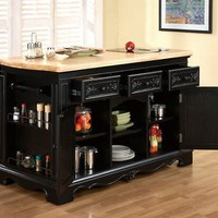TUSCAN BLACK BUTCHER BLOCK KITCHEN ISLAND TABLE NEW