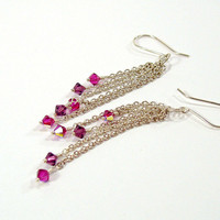 Sterling Silver Chain Dangle Earrings with Swarovski Crystals in Shades of Purple