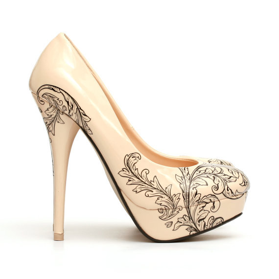 floral shoes tattooed high heel from ng shoes