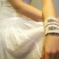 Women&#x27;s Crochet Cuff Bracelet, Ivory, Cotton Crochet Yarn, Toggle Clasp, Copper, Chain