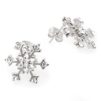 Silver Plated Winter Colorful Snowflake Earrings in Gift Box