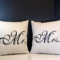 Pillow Set Mr. and Mrs. Pillows for Wedding Gifts, Newlyweds and Married Couples