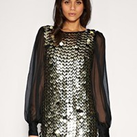 ASOS | ASOS Chiffon Sleeve Embellished Tunic at ASOS