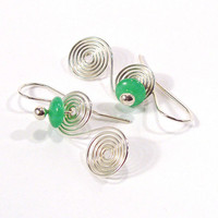 Sterling Silver Hand Made Double Spiral Earrings with Green Stones