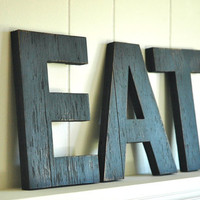 EAT  Wall Art Letters Handmade Wood Sign Vintage Style Distressed Kitchen Cottage Home Decor