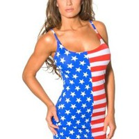 Amazon.com: United States of America USA Flag Print Tank Dress [One Size]: Clothing