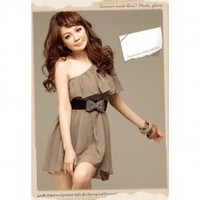 Stylish One-Shoulder Brown Chiffon Short Dress--Women's Dresses China Wholesale - Everbuying.com