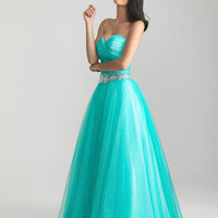 Aqua Gathered Shimmer Tulle Sweetheart Prom Gown - Unique Vintage - Cocktail, Pinup, Holiday & Prom Dresses.