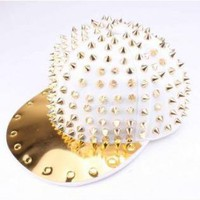 White Baseball Cap with All Over Gold Spike Detail