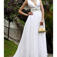 White V Neck Chiffon Wedding Drss With Short Train by ElliotClaireLondon on Sense of Fashion